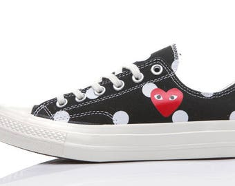 COMME des GARÇONS Play x Converse Polka Dot Black Low All Sizes Limited Edition