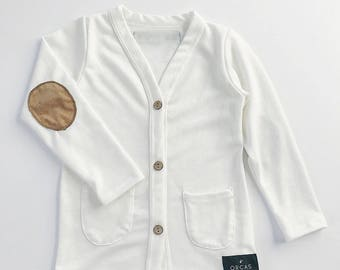 Baby cardigan | Toddler cardigan | Elbow patch cardigan | Ivory cardigan | Kids cardigan | Toddler sweater | Kids sweater | White cardigan