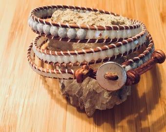 Iridescent & Gray Speckle 3Wrap Bracelet