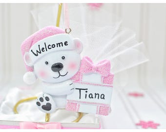 Welcome party favors, gold, stand, personalized, gift box, pink, bear, ornaments, baby girl, baby shower, gift ideas, keepsake