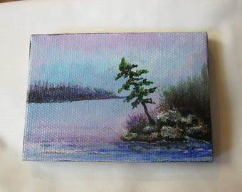 Pine tree ORIGINAL Miniature painting, Tree Landscape, Water, Lake, Pond,