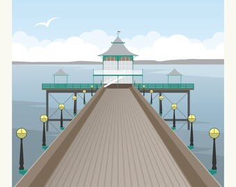 Clevedon Pier Vintage Travel Style Poster