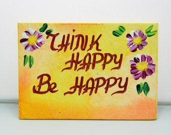 Magnetic for fridge-signs-hand painting-handmade-acrylic colors-hagiography powder-spray-wood-mdf-happy-flowers-magnet