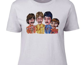 Ladies T Shirt Beatles Caricature