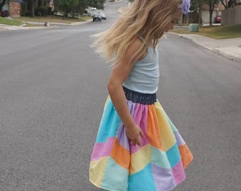Girls Rainbow Skirt, Rainbow Twirl Skirt, Girls' Hippie Skirt, Rainbow Patchwork Skirt, Rainbow Birthday Skirt, Chevron Rainbow Skirt