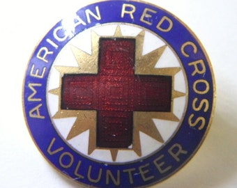 Vintage American RED CROSS VOLUNTEER Button Pin Red White Blue Enamel on Gold