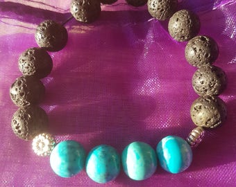 Turquoise Howlite diffuser bracelet.