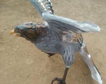 Paper mache bird,bird sculpture,handmade sculpture,bird statue,life size statue,hawk statue