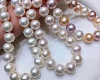 9-10mm Natural Freshwater Pearl Necklace w/925 Sterling Silver Clasp, High Luster Hand Knotted Genuine Pearl Bridal Wedding Necklace