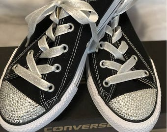 Black and Silver Bling Converse