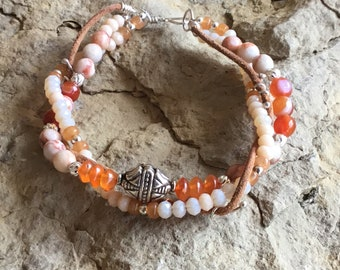 Double Strand Orange Agate Bracelet