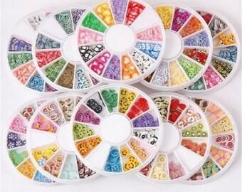 1 Random Polymer Clay Nail Art Decoration, Fashion Nail Care, Mixed Shapes, Mixed Color, 3~9x2~8x0.3~1mm