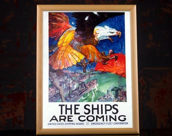 "American Propaganda Poster ""The Ships Are Coming"", military art prints, military family gift, military picture, army wall art, military wife"
