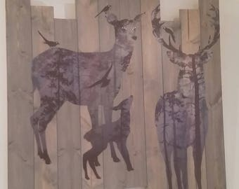 Beautiful wooden wall art of a stag, fawn and doe