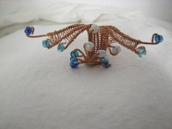 Fancy copper and bead woven wire ring adjustable made from 20 like this item greentooth Gallery