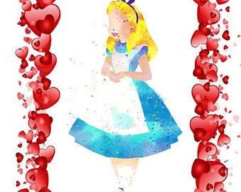 Happy Unbirthday Card - Alice surrounded by hearts - 5x7 premium white card with envelope sealed in cellophane