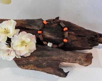 Natural Orange Howlite & Matte Black Agate healing gemstone stretch bracelet with Buddha spacer