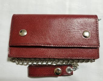 Red Lizard Print Leather Biker Chain Wallet