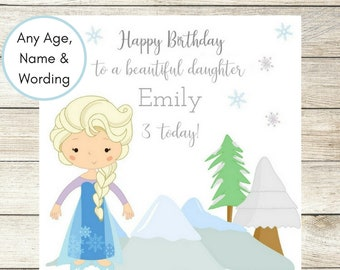 Frozen Elsa Inspired Birthday Card, Personalised Birthday Card, Daughter Card, Disney Princess, Granddaughter Card, 1st, 2nd, 3rd, 4th, 5th