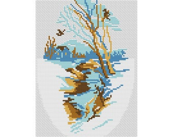 Cross Stitch Pattern Spring landscape, stream, mountains, nature counted embroidery