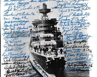 USS Indiannapolis Photo Signed By More Than 50 Survivors!
