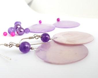 Purple AMETHYST nacre silver earrings, Green nacre silver earrings, amethyst jewellery, long amethyst silver earrings, TWOhearts, TWO hearts