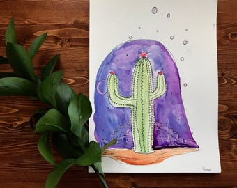 Saguaro Slumber - Original Watercolor painting
