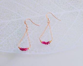 Genuine Ruby earrings 14k gold filled-Power Stone Birthstone Bracelet Jewelry-