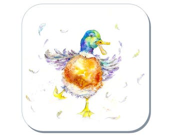 Crazy Duck - Ducking coaster (Corked Back). From an original Sheila Gill Watercolour Painting
