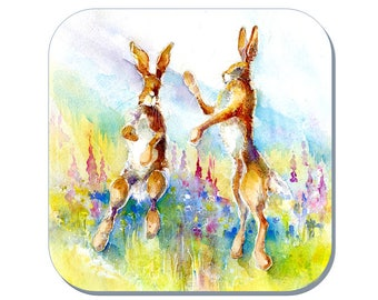 Hares in a Meadow - Hare Coaster (Corked Back). From an original Sheila Gill Watercolour Painting