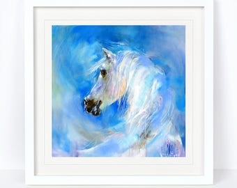 Moody Blue - Horse, Equine Print. Printed from an Original Sheila Gill Watercolour. Fine Art, Giclee Print, Hand Painted, Home Decor