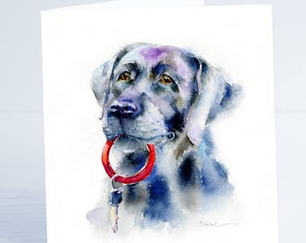 Black Labrador - Greeting Card - Taken from an original Sheila Gill Watercolour Painting.