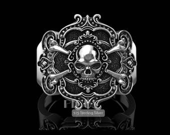 Unique Pirate Skull 925 Sterling Silver Vintage Skull Men's Biker Ring jewellery