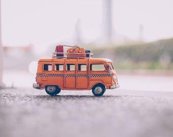 Orange minivan