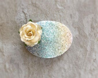 Pastel Chunky Glitter Oval Floral Snap Clip - Chunky Glitter - Prima Flowers - Faux Leather - Snap Clips - 50mm Clips