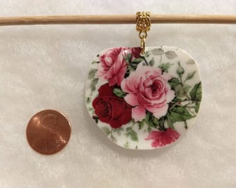 Beautiful roses on large pendant/vintage broken china/ upcycled/necklace/Mother's Day gift/