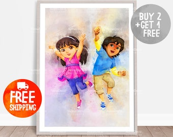 Dora and Pablo Poster, Dora and Friends Print, Wall Hanging, Watercolor Painting Effect, Nursery Print, Kids Cartoons Poster, C394
