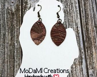 1.75 in, nutmeg, tooled, marquise, Leather earrings, handmade earrings, nickle free, drop earrings, dangle earrings, lightweight