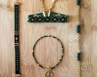 Handmade Bohomian Bracelets Miyuki Delica 4 Pcs Set eaded Dainty Gemstone Gift for Sister, Daughters, Girlfriend, Mothers
