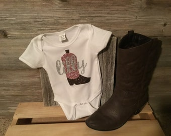 Cowgirl Boot and Name Onesie