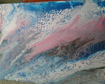 Pink Wave: Original Acrylic Painting, Abstract Painting, Fluid Art Abstract, Fluid Acrylic Art, One -of-a-Kind Painting, Pink and Blue Art
