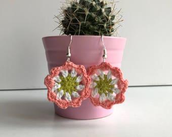 Small Mandala Crochet Earrings, Drop Earrings, Handmade Earrings, Cotton Earrings, Crochet Jewellery, Mandala Earrings