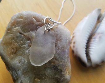 Clear White Beach Glass Necklace