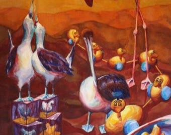 Original Watercolor - Birds and Toys, 29x25