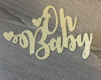 Oh Baby Cake Topper Gold Glitter