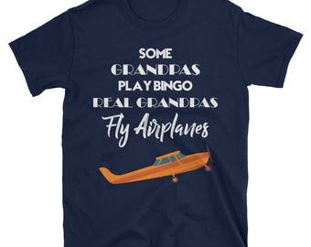 Real Grandpas Fly Airplanes T-Shirt Men's Aviation Pilot Tee