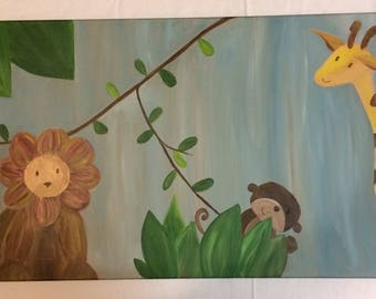 Safari Nursery Painting Original Acrylic on Canvas