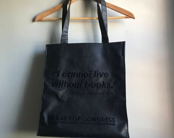 Leather Tote Bag for Books Library of Congress