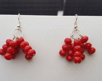Red glass bead cluster earrings