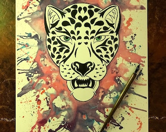 Pen and Ink Jaguar Graffiti Illustration Print